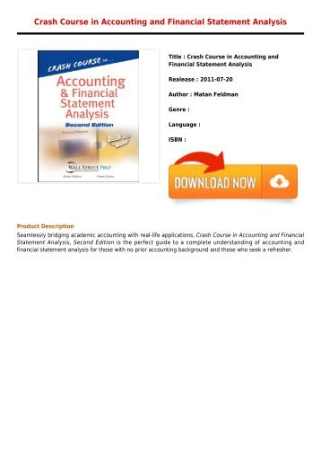 Read Online E-Book Crash Course in Accounting and Financial Statement Analysis Online Free