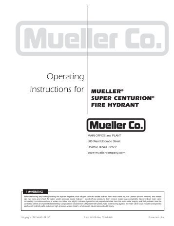 Operating Instructions for - Mueller Co.