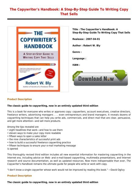 Best E Book The Copywriters Handbook A Step By Step Guide To Writing