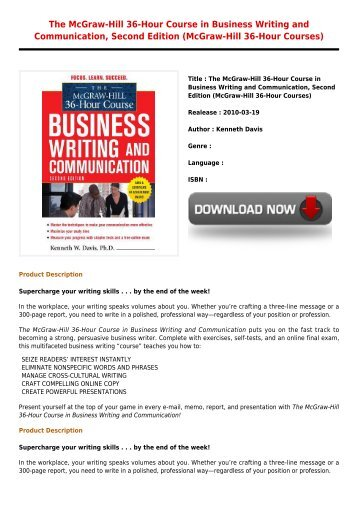 Kenneth Davis - Business Writing and Communication (The McGraw-Hill 36-Hour Courses)