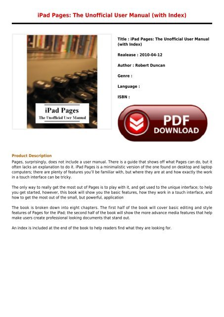 Free Downloads E-Book iPad Pages The Unofficial User Manual with