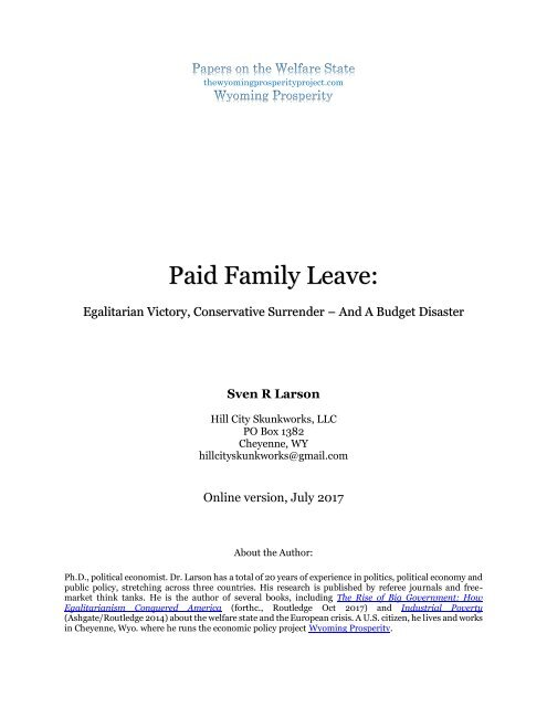 Welfare State Paper 1 Paid Family Leave copy