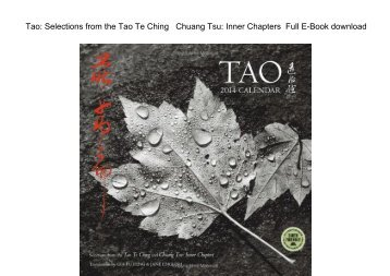 Tao Selections from the Tao