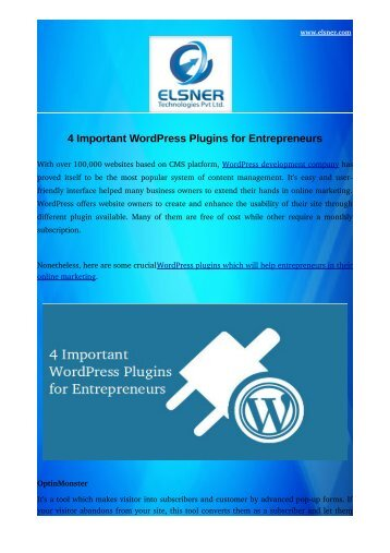 4 Important WordPress Plugins for Entrepreneurs