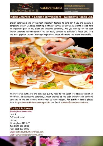 Indian Caterers In London Birmingham – Sukhdev's Foods Ltd.