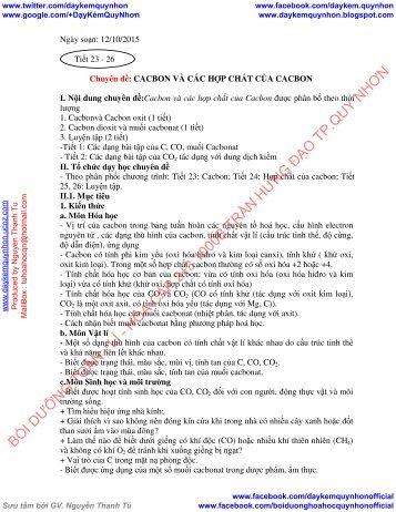 GIÁO ÁN CHUYÊN ĐỀ CACBON NITO VÀ CÁC HỢP CHẤT CỦA CACBON NITO ĐẠI CƯƠNG VỀ HÓA HỌC HỮU CƠ