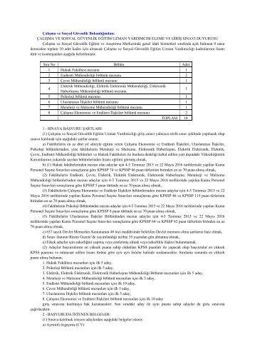 SGB Eğitim Uzman Yard. alım ilanı 27.01