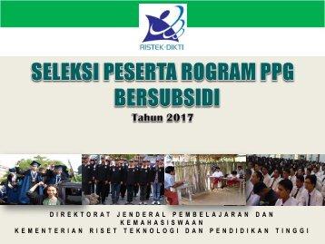 Sosialisasi seleksi PPG bersubsidi 2017
