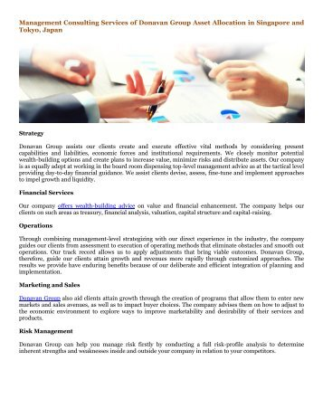 Management Consulting Services of Donavan Group Asset Allocation in Singapore and Tokyo, Japan