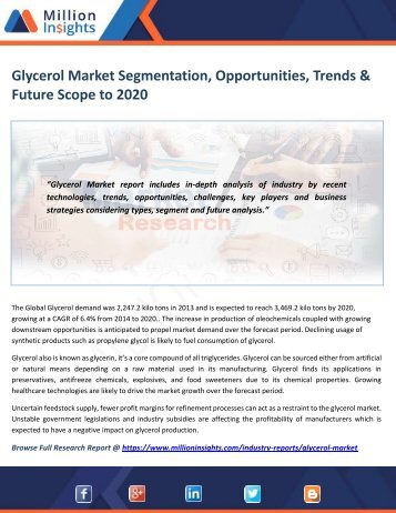 Glycerol Market Segmentation, Opportunities, Trends & Future Scope to 2020