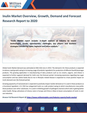 Inulin Market Overview, Growth, Demand and Forecast Research Report to 2020