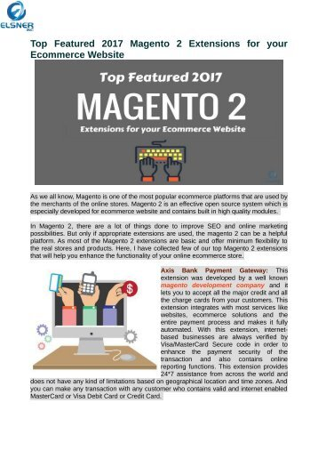 Magento 2 Extensions for your Ecommerce Website