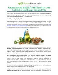 Natures Natural India: Keep Mind in Peace with Certified Aromatherapy Essential Oils