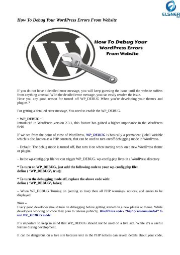 How To Debug Your WordPress Errors From Website