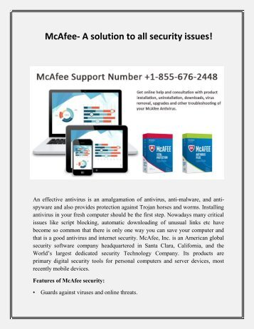 Mcafee Support Number 1-855-676-2448