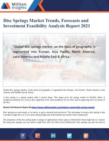 Disc Springs Market Trends, Forecasts and Investment Feasibility Analysis Report 2021