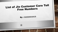 List of Jio Customer Care Toll Free Numbers