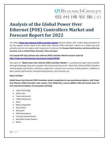 Analysis of the Global Power Over Ethernet (POE) Controllers Market and Forecast Report for 2022