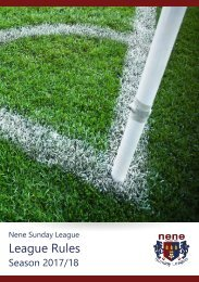 Nene Sunday League Rules 2017-18
