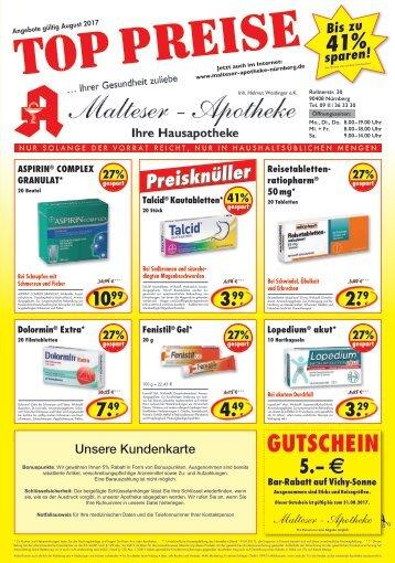 Angebote im August Malteser Apotheke Nürnberg