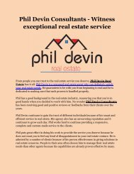 Phil Devin Consultants - Witness exceptional real estate service