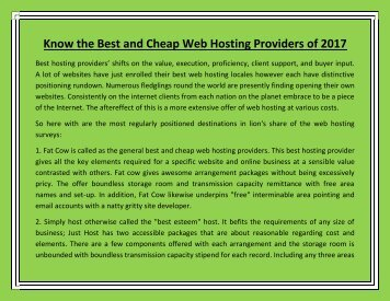 Know the Best and Cheap Web Hosting Providers of 2017