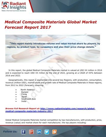 Medical Composite Materials Global Market Forecast Report 2017