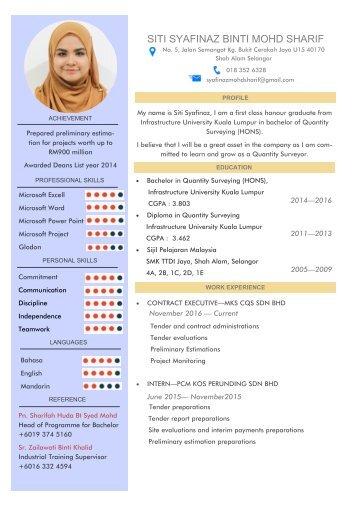Syafinaz's Resume