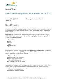 Global Bonding Capillaries Sales Market Report 2017