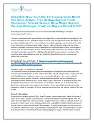 Solid Organ Transplant Immunosuppressant  Market  Analysis- Size, Share, overview, scope, Revenue, Gross Margin, Segment and Forecast 2017