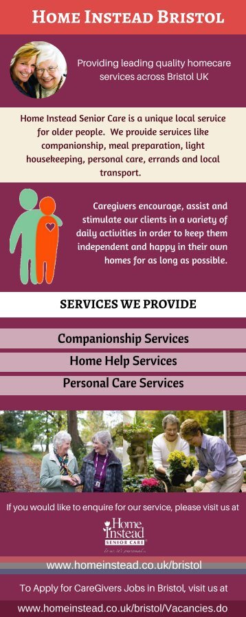 Caregivers for Senior Home Care Required in Bristol