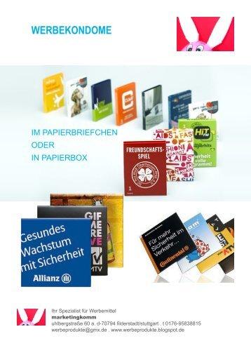 Werbekondome- Kondom als Werbemittel, Werbeartikel