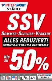 Intersport Stähle - SSV Sommer-Schluss-Verkauf bis zu 50%