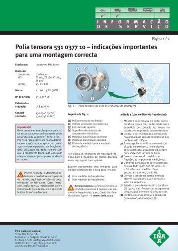Polia tensora 531 0377 10 – indicações importantes  para uma ...