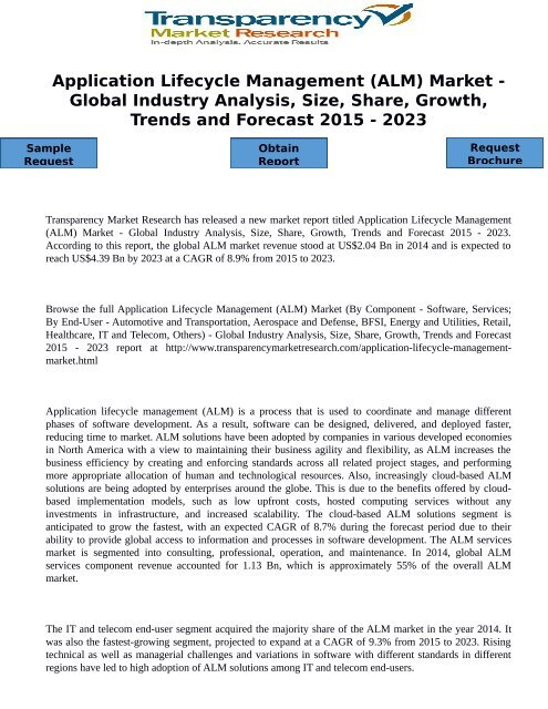 Application Lifecycle Management (ALM) Market - Global Industry Analysis, Size, Share, Growth, Trends and Forecast 2015 - 2023