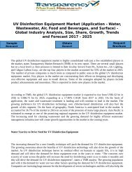UV Disinfection Equipment Market (Application - Water, Wastewater, Air, Food and Beverages, and Surface) - Global Industry Analysis, Size, Share, Growth, Trends and Forecast 2017 - 2025