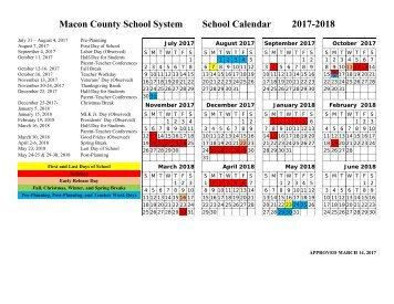 Macon County School System School Calendar 2017-2018 (Approved)