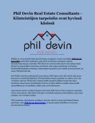 Phil Devin Real Estate Consultants - Kiinteistöjen tarpeisiin ovat hyvissä käsissä