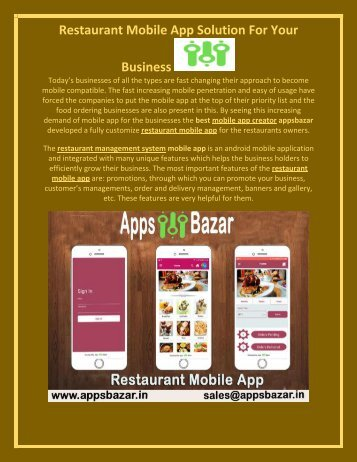 Restaurant Mobile App Solution For Your Business