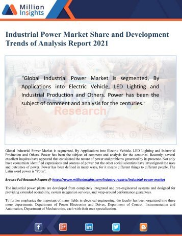 Industrial Power Market Share and Development Trends of Analysis Report 2021