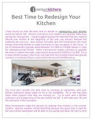 Best Time to Redesign Kitchen