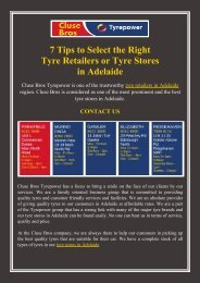 7 Tips to Select the Right Tyre Retailers or Tyre Stores in Adelaide
