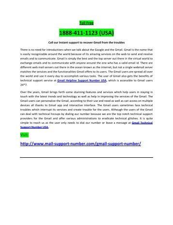 Gmail Customer Support Helpline Number 1888-411-1123 USA