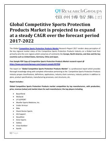 Global Competitive Sports Protection Products Market is projected to expand at a steady CAGR over the forecast period 2017-2022