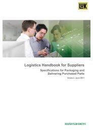 Logistics Handbook for Suppliers Specifications ... - Schaeffler Group