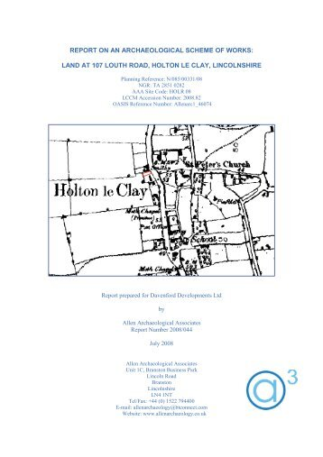 land at 107 louth road, holton le clay, lincolnshire - Archaeology ...