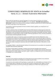 CONDICIONES GENERALES DE VENTA de Schaeffler Iberia, SLU