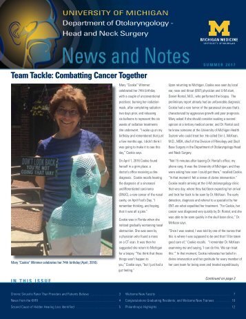 News and Notes: 2017 Summer Newsletter