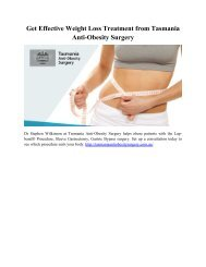 Get Effective Weight Loss Treatment from Tasmania Anti-Obesity Surgery