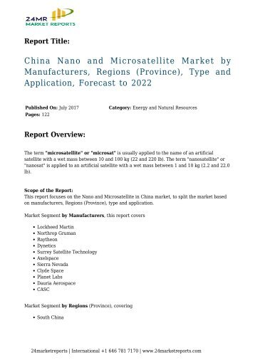 """jsb market research nanosatellite and The report portraying all-inclusive research of the global """"nanosatellite and microsatellite market"""" includes the growth rate of the market over the estimated period."""